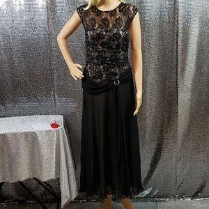 Full Length Black Sheer Diamond Charm Dress